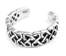 Sterling Silver Celtic Neverending Knotwork Adjustable Toe Ring