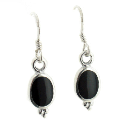 Simple Elegant Black Onyx Sterling Silver Hook Earrings