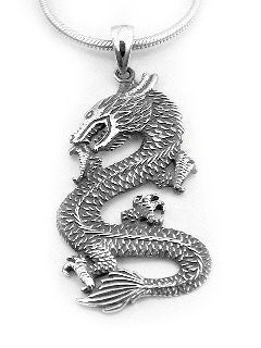 Antiqued Medieval Sterling Silver DRAGON Pendant Charm