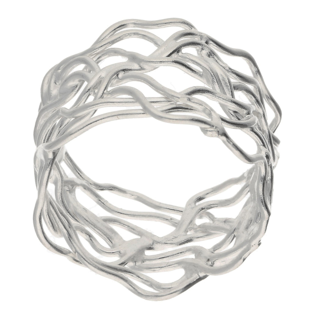 Unique Filigree Wirework Wide Band Sterling Silver Ring