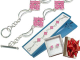 Sterling Silver Pink Ice Moon Bracelet and Earrings Set - Silver Insanity