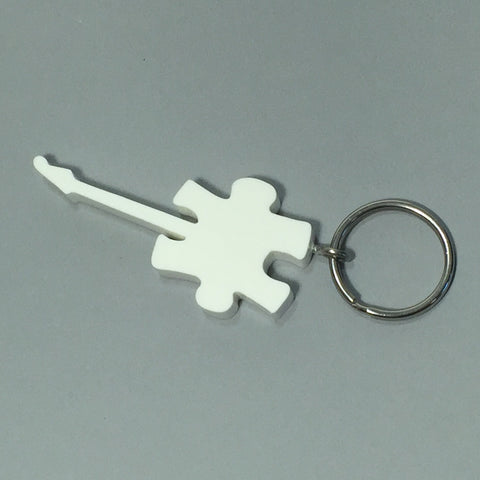 Autism Awareness Puzzle Guitar Keychain