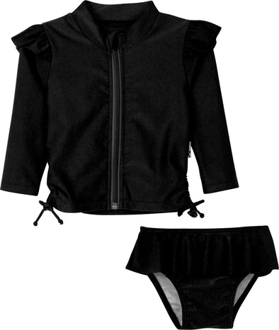 Flutter Love - BLACK - Long Sleeve Rash Guard Swimsuit Set (2 Piece)