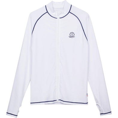 "Mens Rash Guard Long Sleeve Loose fit Swim Shirt - ""Cannonball King"" White with Contrast Stitching"