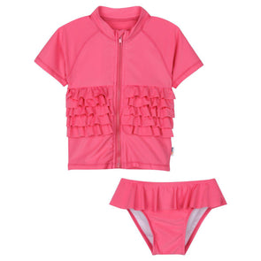 Little girl hot pink ruffle rash guard set by swimzip