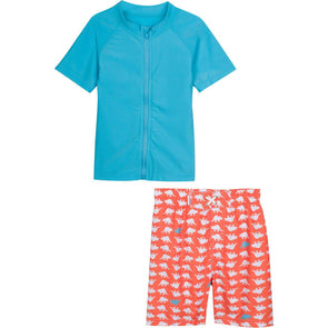 boy zipper rash guard set dinosaur uv swimzip