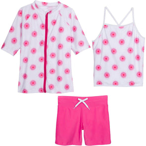 tween girl rash guard swimwear shorts set pink swimzip
