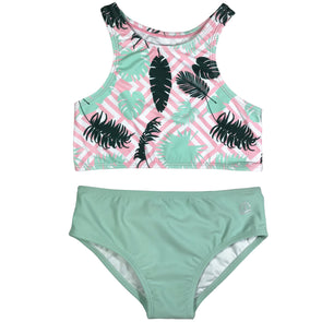 solid and striped swimsuit for girls with palm print by SwimZip