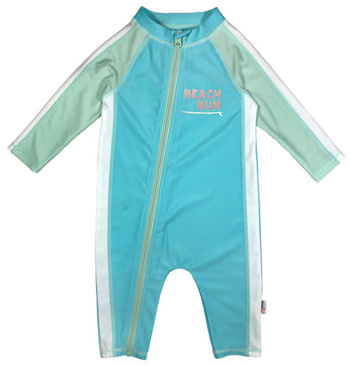 girl long sleeve sunsuit upf swimzip blue green bum