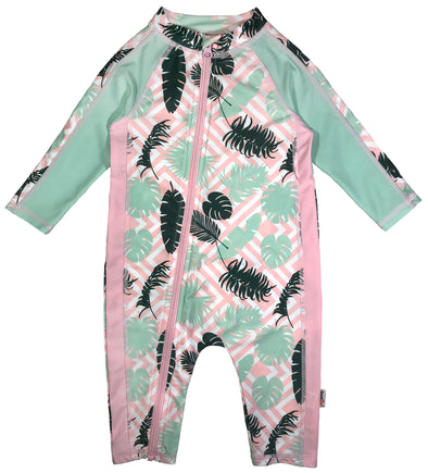 Girl Long Sleeve Sunsuit Romper Swimsuit UPF 50+ UV Sun Protection pink SwimZip Palms