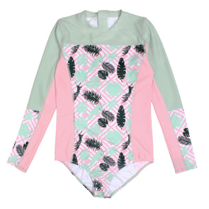 Surf Suit - Women Long Sleeve Body Suit UPF 50+ (1 Piece) Palm Print