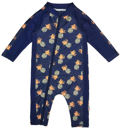 long sleeve sunsuit romper swimsuit blue pineapple swimzip upf 50