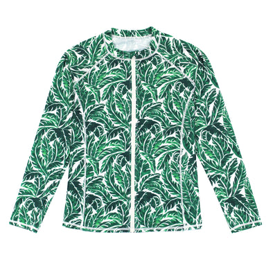 "Women's Long Sleeve Rash Guard with Pockets UPF 50 + | ""Palm Leaf"""