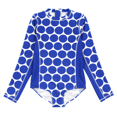 "Girl Long Sleeve Surf Suit (1 Piece) | ""Oversized Dot"""