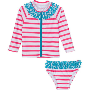 little girl longsleeve rash guard pink stripe set by swimzip coral