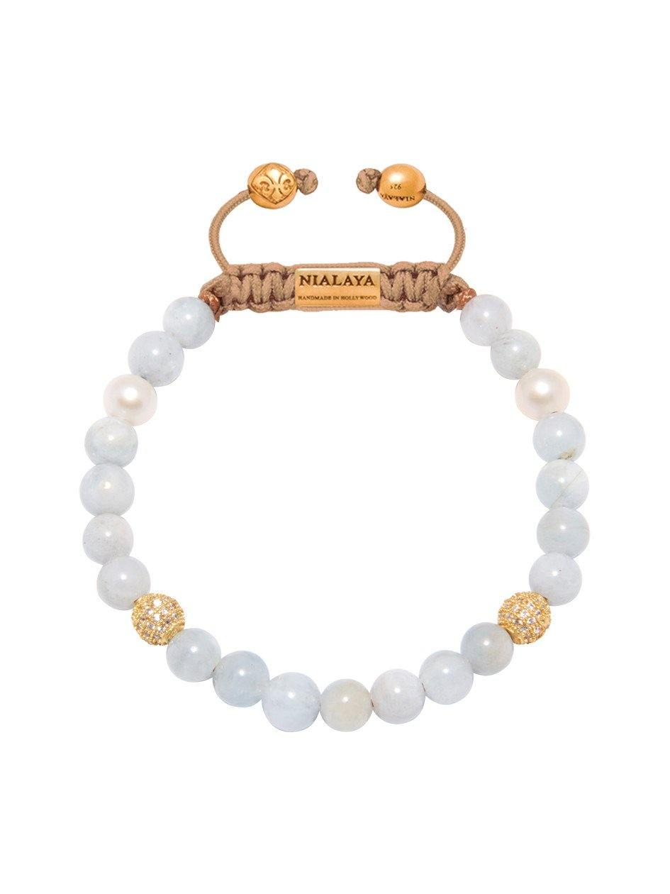Women's Beaded Bracelet with Aquamarine and Pearls - Nialaya Jewelry  - 1