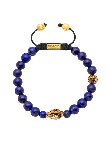 Men's Beaded Bracelet with Blue Lapis and Gold Buddha - Nialaya Jewelry  - 1