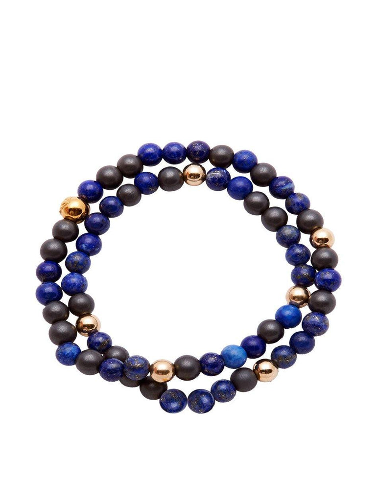 Men's Wrap-Around Bracelet with Blue Lapis, Ebony and Gold - Nialaya Jewelry  - 1