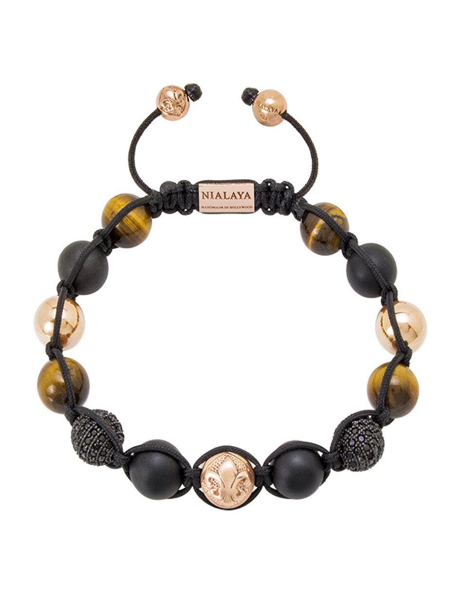 CZ Diamond Black, Brown Tiger Eye, Matte Onyx & Rose Gold - Nialaya Jewelry  - 1