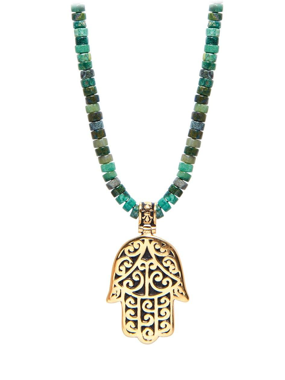 Men's Beaded Necklace with African Jade and Hamsa Hand Pendant