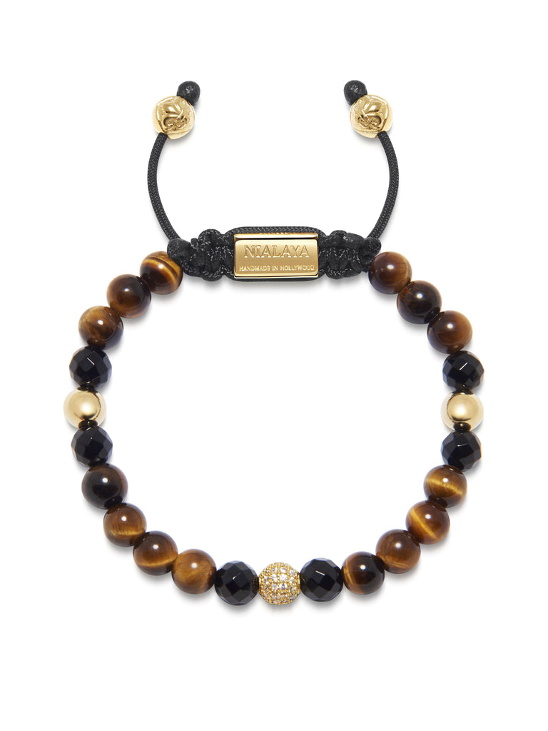Women's Beaded Bracelet with Brown Tiger Eye, Agate and Gold