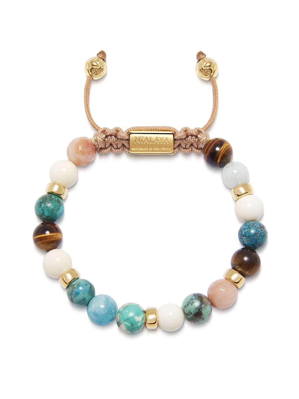 Women's Beaded Bracelet with Bali Turquoise, White Coral, Brown Tiger Eye and Pink Adventurine
