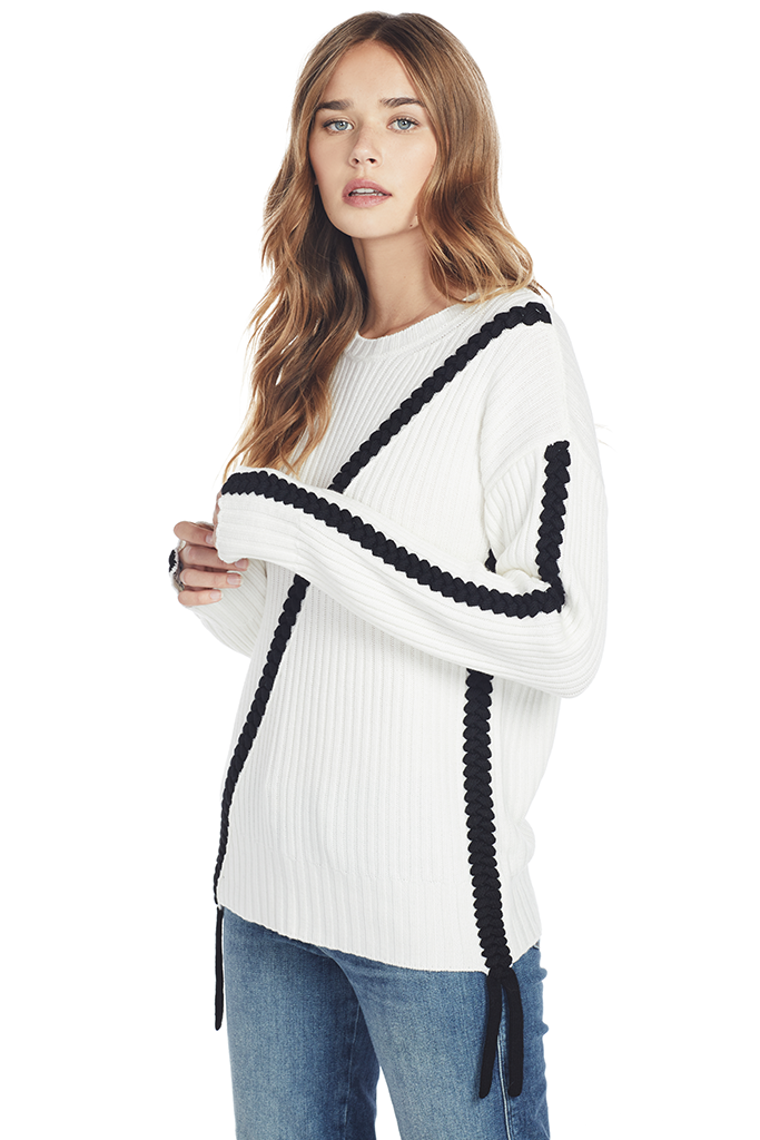 Crewneck Sweater w Asymmetric Braid Detail