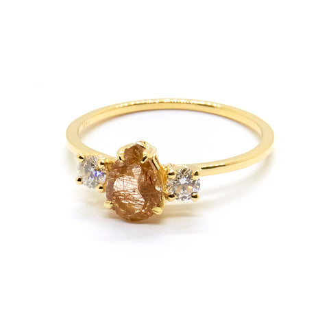 Precious Pear Trio Ring | Rutilated Quartz
