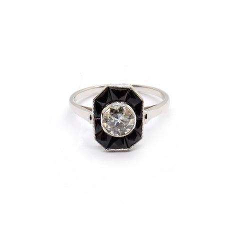 Constance | Vintage Old Cut Diamond and Onyx Ring