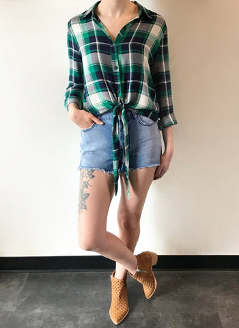 Hannah Plaid Tie Up Blouse