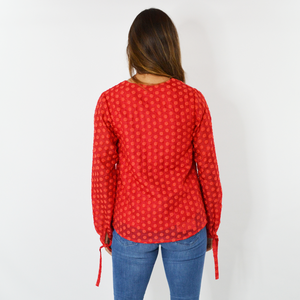 Womens Shilla Calibre Dot Blouse in Poppy - Brother's on the Boulevard