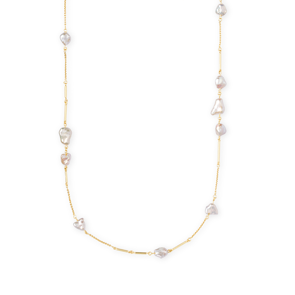 Kendra Scott Sabrina Baroque Gold Long Necklace In Pearl