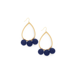 Ever Alice Studio Pom Pom Hoops in Navy