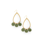 Ever Alice Pom Pom Hoops in Olive