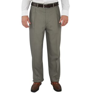 Mens Chiari Un-Hemmed Pleated Dress Pant in Taupe - Brother's on the Boulevard