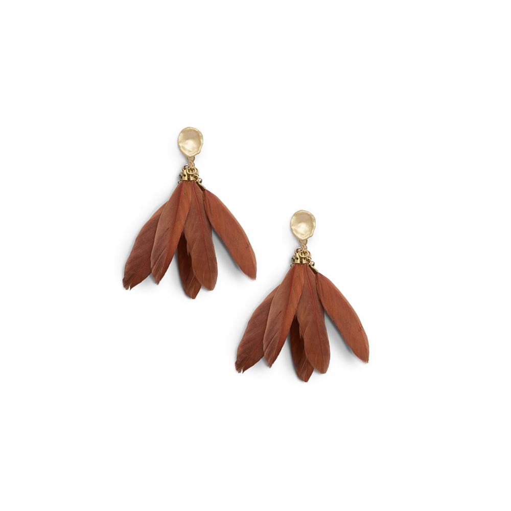 Ever Alice Studio Feather Statement Earrings in Rust