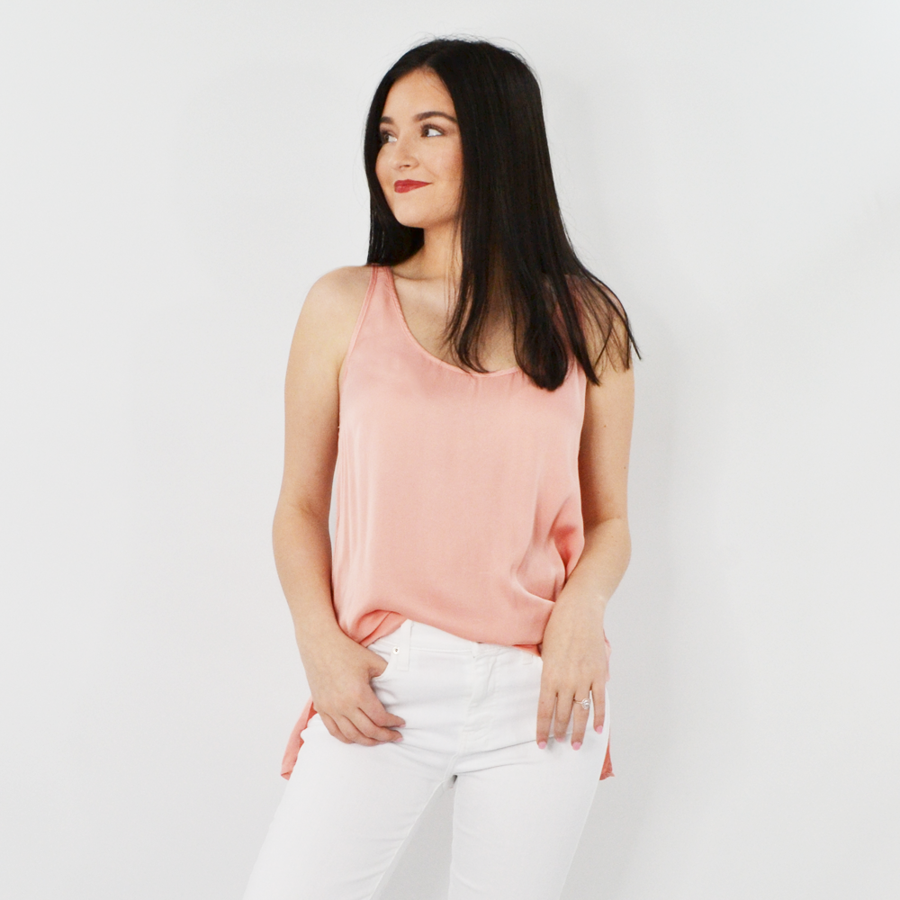 Womens Fifteen Twenty Side Slit Tank in Rose - Brother's on the Boulevard