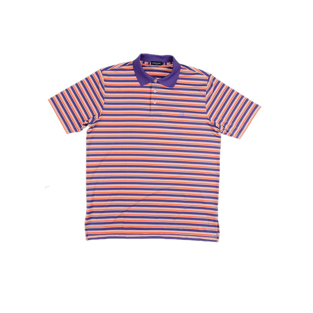 Mens Southern Marsh Warwick Stripe Performance Polo in Purple/Orange - Brother's on the Boulevard