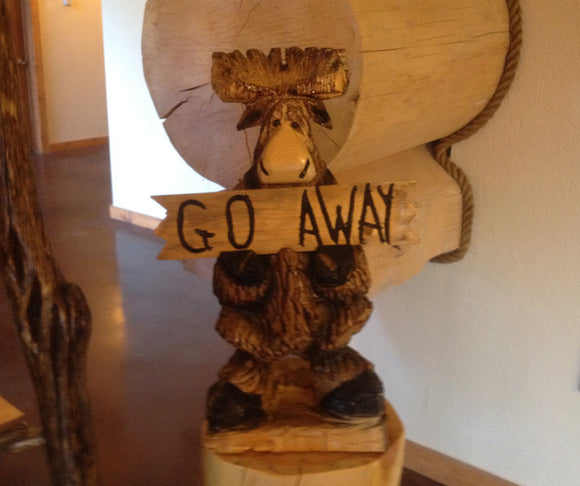 Welcome/Go Away Moose Carving (Shipping and Handling Included)