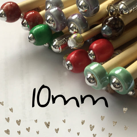 Wholesale 10mm (us size 15) 1 Pair Beaded Knitting Needles/Crochet Hook