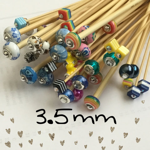 Wholesale 3.5mm (US size 4) 1 Pair Beaded Bamboo Knitting Needles/Crochet Hook