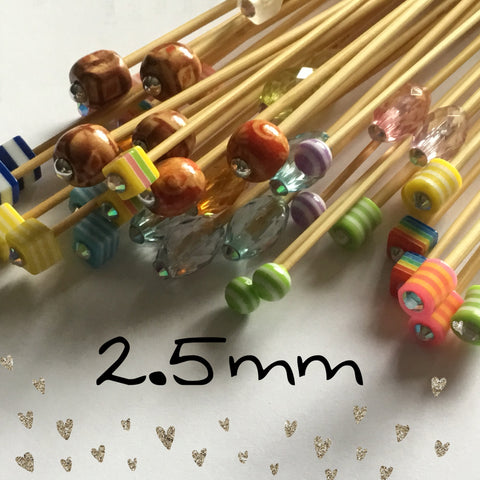 Wholesale 2.5mm (US size 1) 1 Pair Beaded Knitting Needles