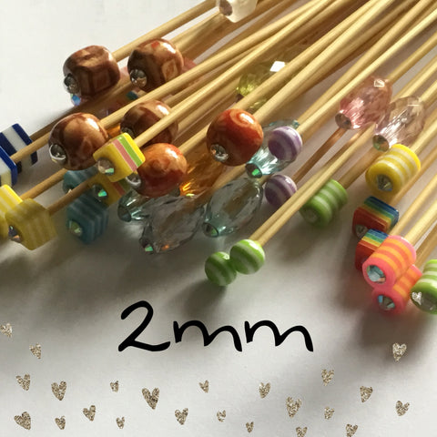 2mm (us  size 0) Beaded Knitting Needles
