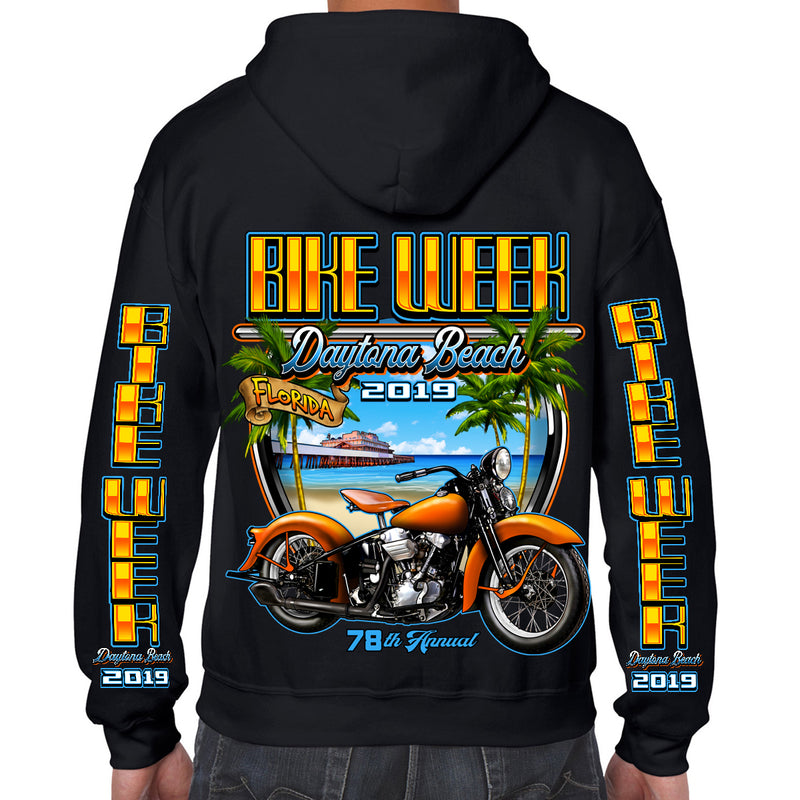 2019 Bike Week Daytona Beach Beach Shield Zip-Up Hoodie