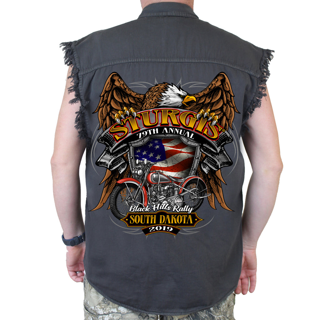 2019 Sturgis Black Hill Rally Rebel Rider Cut-Off Denim