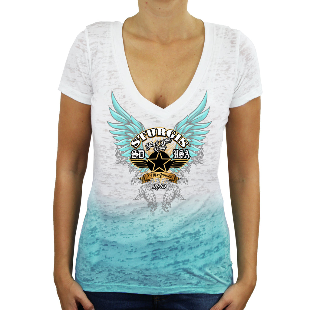 Ladies 2019 Sturgis Black Hills Rally Golden Dawn Ombre Burnout V-Neck T-Shirt