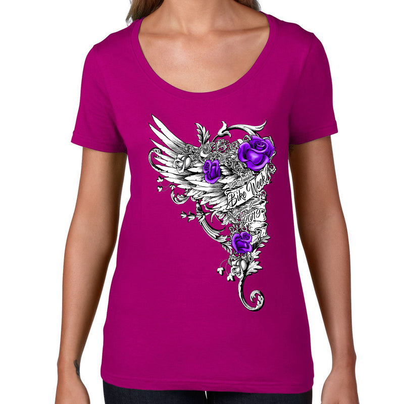 Ladies 2019 Bike Week Daytona Beach Roses Wings Scoop Neck T-Shirt