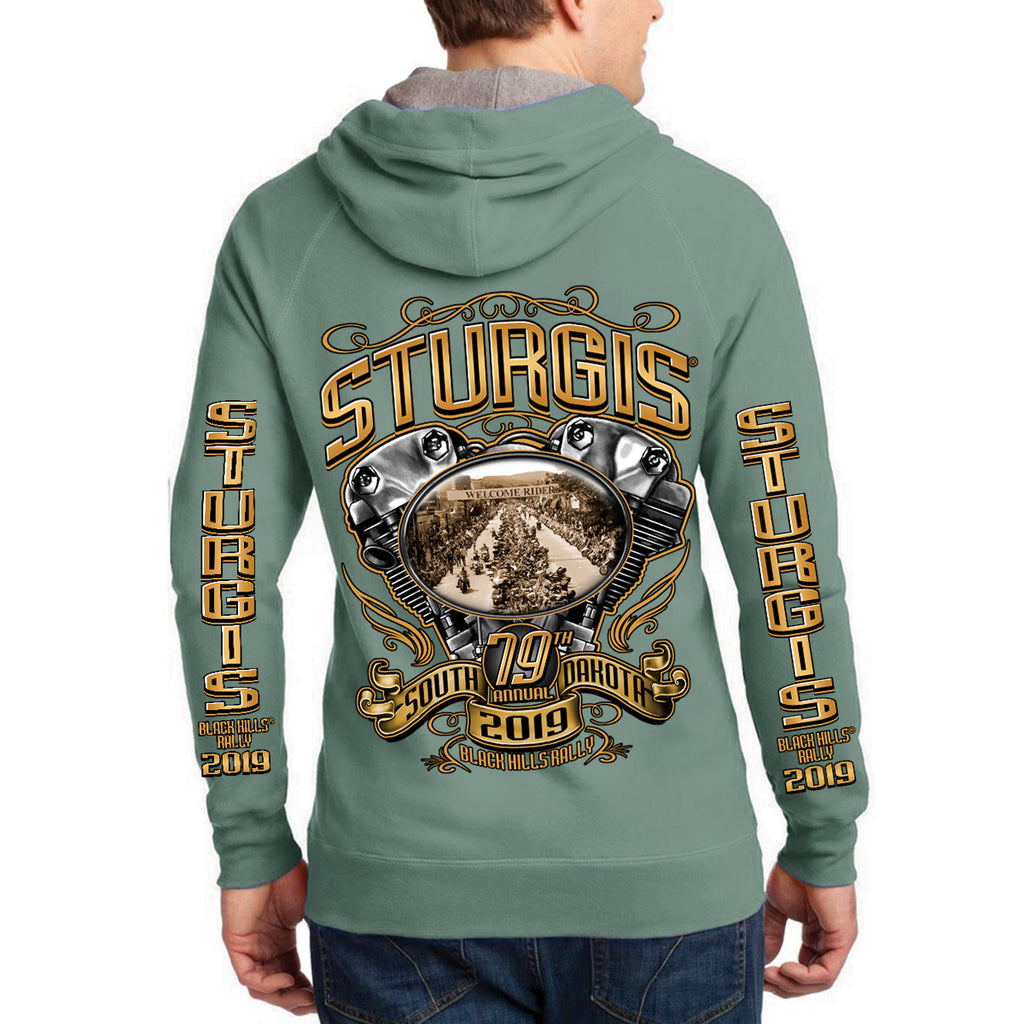 2019 Sturgis Black Hills Rally Main Street Engine Zip-Up Hoodie