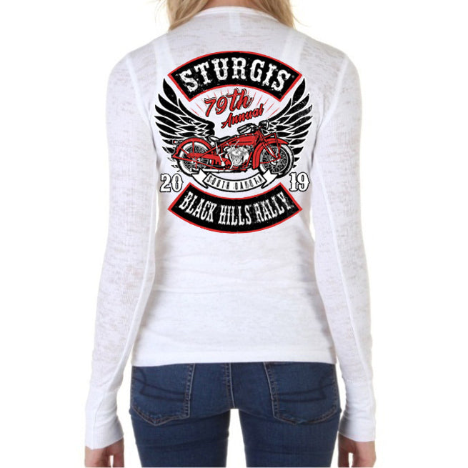 Ladies 2019 Sturgis Black Hills Rally Rocker Billy Burnout Thermal Long Sleeve