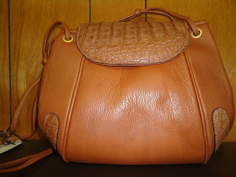Chloe - Cognac Brown Leather with Crocodile Accents Shoulder Bag - #503